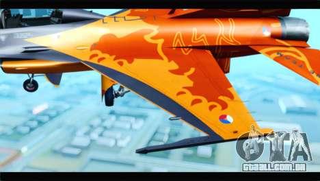 F-16D Fighting Falcon Dutch Demo Team J-015 para GTA San Andreas vista traseira