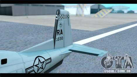 Beechcraft T-6 Texan II US Air Force 4 para GTA San Andreas traseira esquerda vista