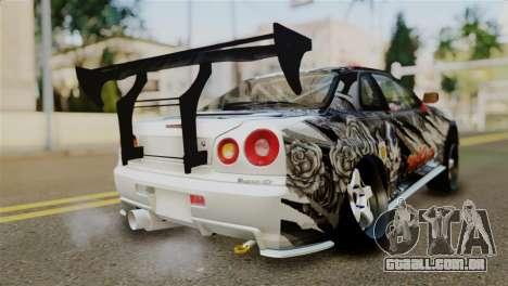 Nissan Skyline GTR34 Tokage para GTA San Andreas esquerda vista
