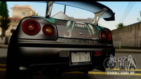 Nissan Skyline GT-R BNR34 Mio Akiyama Itasha para GTA San Andreas vista direita