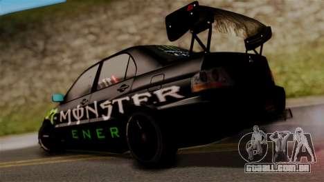 Mitsubishi Lancer Evo IX Monster Energy para GTA San Andreas esquerda vista
