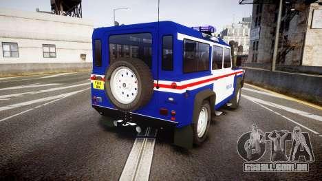 Land Rover Defender Policia PSP [ELS] para GTA 4 traseira esquerda vista