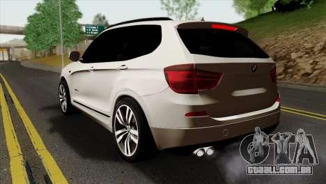 BMW X3 F25 2012 para GTA San Andreas esquerda vista