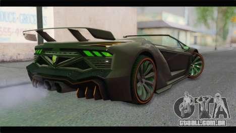 GTA 5 Pegassi Zentorno Spider para GTA San Andreas esquerda vista