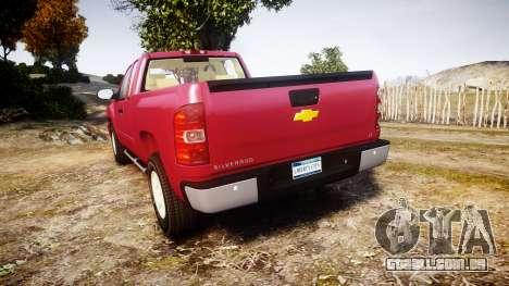 Chevrolet Silverado 1500 LT Extended Cab wheels1 para GTA 4 traseira esquerda vista