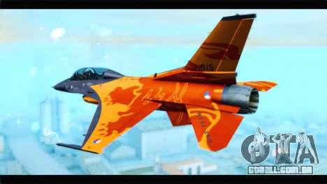 F-16D Fighting Falcon Dutch Demo Team J-015 para GTA San Andreas esquerda vista