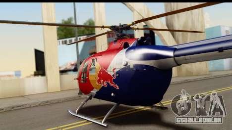 MBB Bo-105 Red Bull para GTA San Andreas vista direita