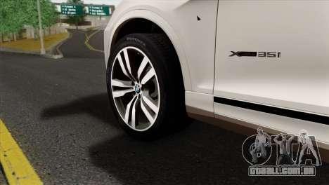 BMW X3 F25 2012 para GTA San Andreas traseira esquerda vista