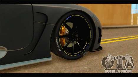 Koenigsegg Agera R 2011 Stock Version para GTA San Andreas traseira esquerda vista