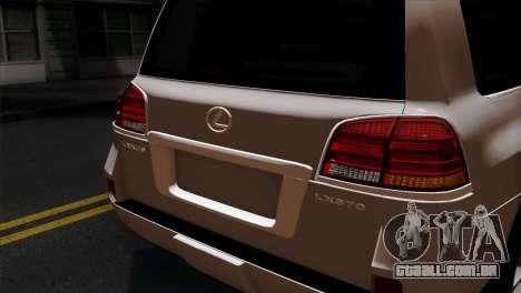 Lexus LX570 2011 para GTA San Andreas vista traseira