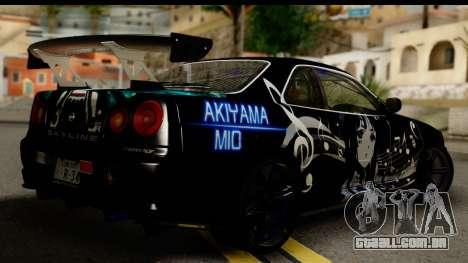 Nissan Skyline GT-R BNR34 Mio Akiyama Itasha para GTA San Andreas esquerda vista