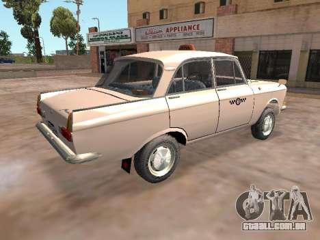 Moskvich 412 Cab para GTA San Andreas traseira esquerda vista