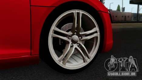Audi R8 v2 para GTA San Andreas traseira esquerda vista