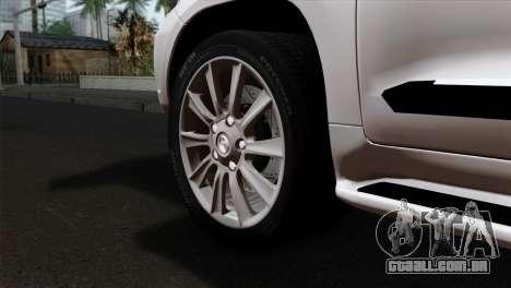 Lexus LX570 2011 para GTA San Andreas traseira esquerda vista