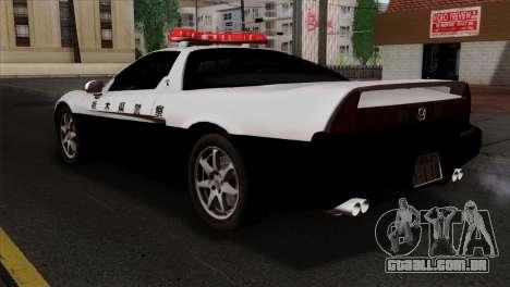 Honda NSX Police Car para GTA San Andreas esquerda vista