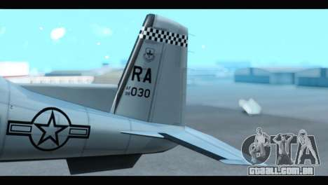 Beechcraft T-6 Texan II US Air Force 3 para GTA San Andreas traseira esquerda vista