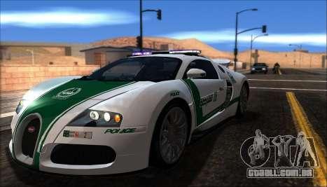 Bugatti Veyron 16.4 Dubai Polícia De 2009 para GTA San Andreas esquerda vista
