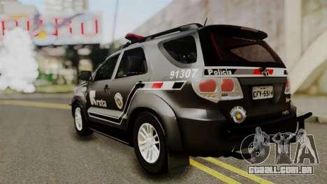 Toyota Hilux SW4 2014 ROTA para GTA San Andreas vista traseira