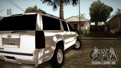 Chevrolet Suburban Plateada para GTA San Andreas traseira esquerda vista