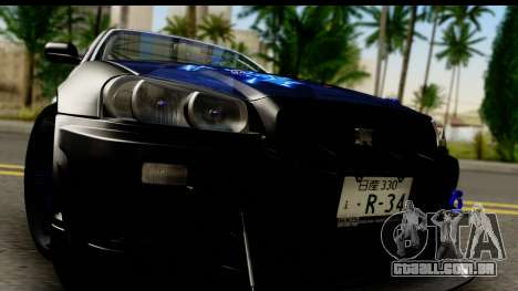 Nissan Skyline GT-R BNR34 Mio Akiyama Itasha para GTA San Andreas traseira esquerda vista