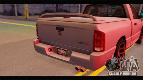 Dodge Ram SRT10 2006 Stock para GTA San Andreas vista traseira