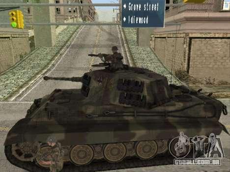 Panzerkampfwagen Tiger II para GTA San Andreas vista traseira