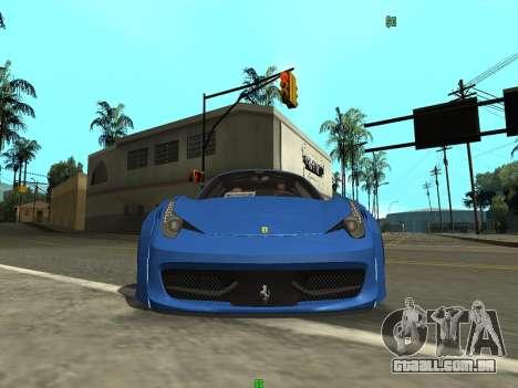 Ferrari 458 Italia para GTA San Andreas traseira esquerda vista