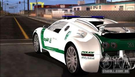 Bugatti Veyron 16.4 Dubai Polícia De 2009 para GTA San Andreas traseira esquerda vista