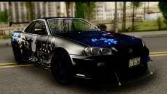Nissan Skyline GT-R BNR34 Mio Akiyama Itasha para GTA San Andreas