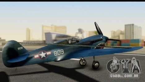 P-40E Kittyhawk US Navy para GTA San Andreas esquerda vista