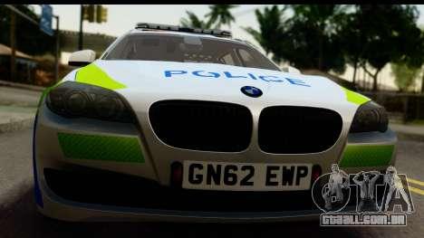 BMW 530d Kent Police RPU para GTA San Andreas traseira esquerda vista