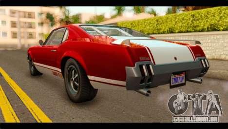 GTA 5 Declasse Sabre GT Turbo para GTA San Andreas esquerda vista