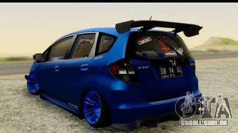 Honda Fit 2009 JDM Modification para GTA San Andreas esquerda vista