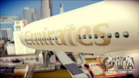 Airbus A340-300 Emirates para GTA San Andreas vista traseira