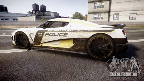 Koenigsegg Agera 2013 Police [EPM] v1.1 PJ2 para GTA 4 esquerda vista