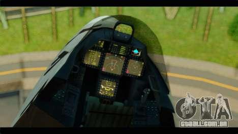 F-22 Raptor Starscream para GTA San Andreas vista direita
