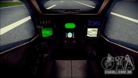 AH64 Apache MOHW para GTA San Andreas vista traseira