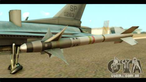 Lockheed Martin F-16C Fighting Falcon Warwolf para GTA San Andreas vista direita