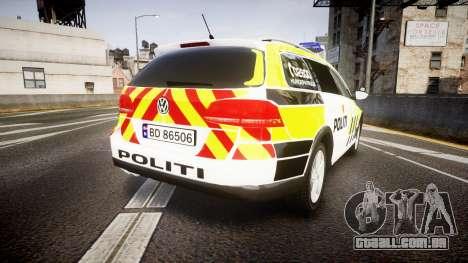 Volkswagen Passat B7 Police 2015 [ELS] marked para GTA 4 traseira esquerda vista