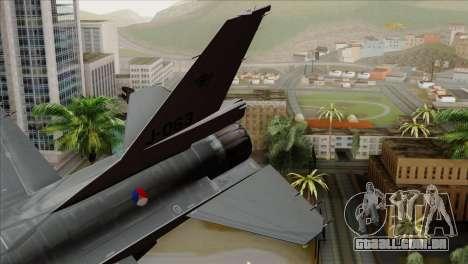 F-16AM Fighting Falcon para GTA San Andreas traseira esquerda vista