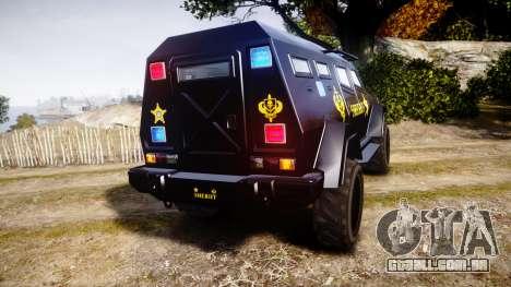 GTA V HVY Insurgent Pick-Up SWAT [ELS] para GTA 4 traseira esquerda vista