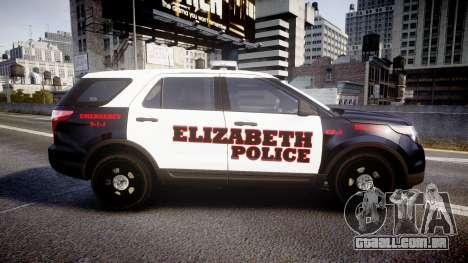 Ford Explorer 2011 Elizabeth Police [ELS] v2 para GTA 4 esquerda vista