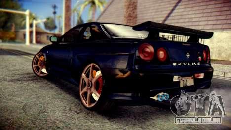 Nissan Skyline GTR V Spec II v2 para GTA San Andreas esquerda vista