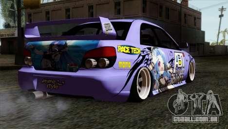 Subaru Impreza WRX STI 5pb Itasha para GTA San Andreas esquerda vista