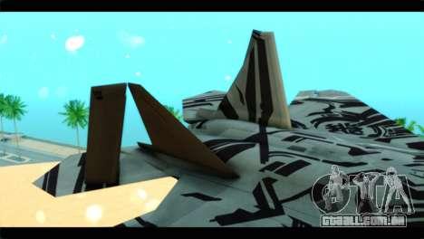 F-22 Raptor Starscream para GTA San Andreas traseira esquerda vista