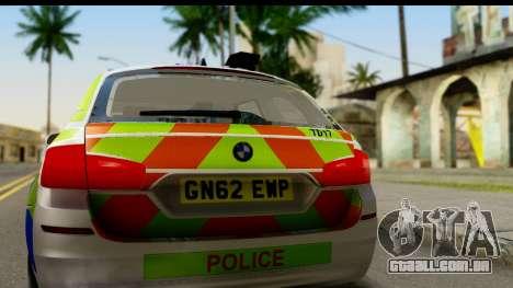 BMW 530d Kent Police RPU para GTA San Andreas vista direita
