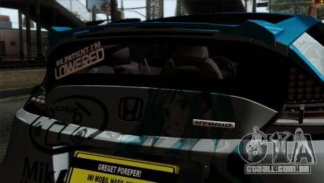 Honda CRZ Mugen Stance Miku Itasha para GTA San Andreas vista traseira