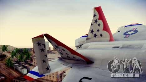 F-22 Raptor Thunderbirds para GTA San Andreas traseira esquerda vista