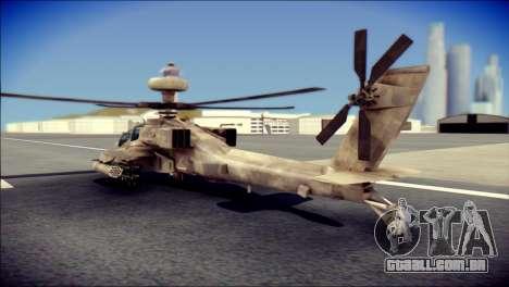 AH64 Apache MOHW para GTA San Andreas esquerda vista