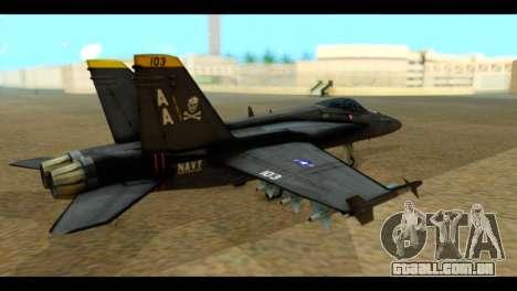 FA-18 Jolly Roger Black para GTA San Andreas esquerda vista